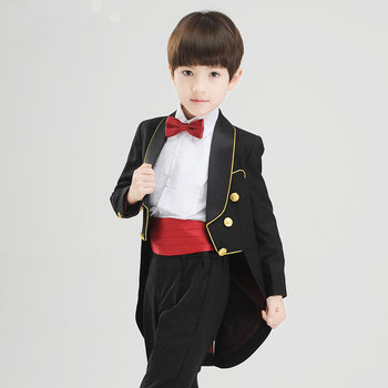 children Ballroom clothing sets Boys wedding sets kids black tuxedo gentleman suits boys performance party host clothing