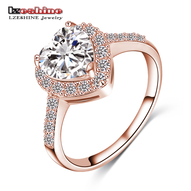 LZESHINE 2016 Christmas Loving Heart Rings Rose Gold/Silver Color Micro Inlay Zi