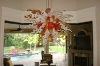 Free Shipping Creative Crystal Flower Chandelier LED Bulbs Hand Blown Glass AC 110 120 220 240V