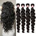 6A peruana suelta la onda 4 Bundles Rosa productos para el cabello Queen pelo peruano de la virgen paquetes armadura del pelo humano peruano suelto rizado