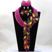 Marvelous Fuchia Pink Wedding African Jewelry Set Luxury Princess Queen Gift Jewelry Set Celebration Beads Free Shipping WA990