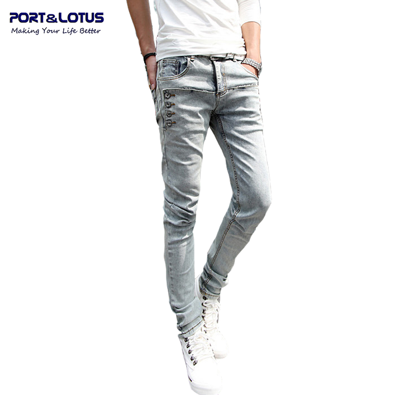 Port Lotus Fashion Casual Jeans New Arrival With Zipper Fly Solid Color Midweight Pencil Pants Jeans