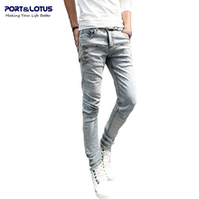 Порт и лотоса мода свободного покроя джинсы новое поступление с молнией летать сплошной цвет Midweight карандаш брюки джинсы мужчин 079 оптовая продажа