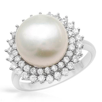 I Zuan S925 Silver White Cultured Freshwater Diameter 9 10mm Pearl Romantic Simple Flower Ring Jewelry