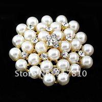 золото/родий серебряный тон ясно украшенные стразами перл кластера свадебные букеты цветок булавки брошь