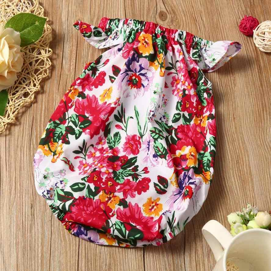 2017 Fashion Summer children Blue+Red kids clothing Newborn Baby Infant Girls Floral Romper Jumpsuit Sunsuit Clothes Outfits
