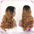 Body Wave Brown Ombre  Two Tone Synthetic Wigs Synthetic Lace Front Wig Heat Resistant Brown Ombre Synthetic Hair Lace Wig