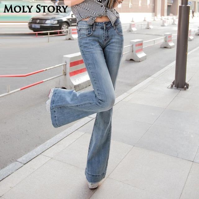 4d9ba27be45 Fashion New Vintage Flare Jeans Sexy Middle Rise Jeans Femme Plus Size  Hippie Wide Leg Denim Pants Women