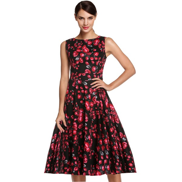 ACEVOG Women Dress Retro Vintage 1950s 60s Rockabilly Floral Swing Summer Dresses Elegant Bow-knot Tunic Vestidos Robe Oversize 35
