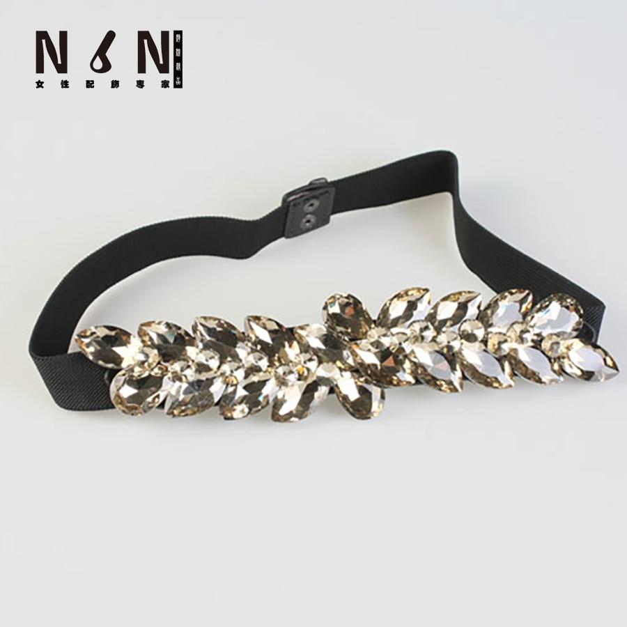 Mode femme cristal élastique ceinture élastique ceinture avec large robe  sous diamant décoration copinage femelle K061 4c091b72e9a