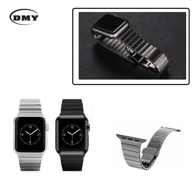 Enlace pulsera para apple watch band banda de acero inoxidable con 1:1 original butterfly corchete correa para iwatch 38mm/42mm