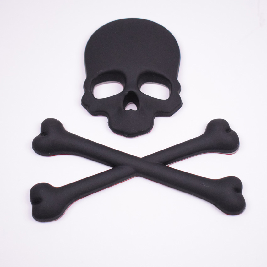 Metal de alta calidad negro 3D esqueleto cráneo etiqueta engomada de ...