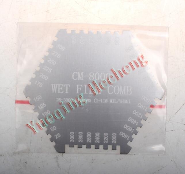 NEW CM-8000 Wet Film Coating Thickness Comb Gauge Meter Tester Tool 25-3000um cm 8000 hexagon wet film comb