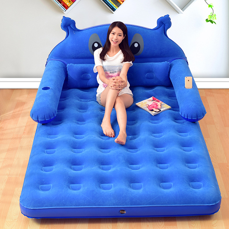 152CM*203CM*22CM Inflatable Materasso Matrimoniale Folding Totoro Cartoon Bed With Backrest Soft Bed Cama Bedroom Furniture
