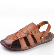 Brown casual leather flat with 2016 new leather men's beach sandals slip round