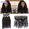 Free Part 13x4 Lace Frontals With Baby Hair And Bundles, Deep Curly 3 Pieces Hair Weft With Closure Virgin Hair Bundles Closure