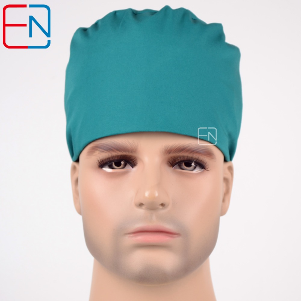 October New Unisex Surgical Caps 100% Cotton With Sweatbands Blue Modern 03
