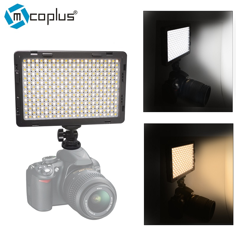 Mcoplus LED-340B CRI95+ Bi-color Ultra-thin Video LED Light for DSLR Camcorder Video Camera Video Shooting Lumen 1600LM