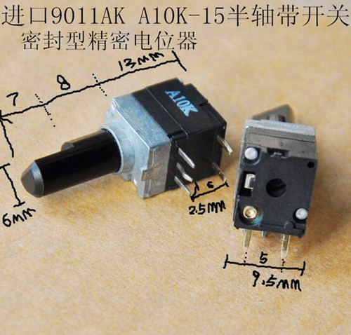 Free Shipping!! 3pcs 9011AK Sealed Type / Precision Adjustable Potentiometer With Switch / A10K-15MM Axle /Electronic Component