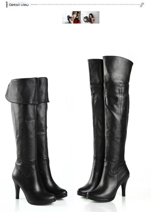 194b3e7dccd Women s Genuine Leather Platform Over Knee Thigh High Heel Boots Size US 5- 9.5( ...