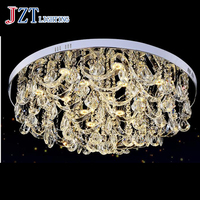T LED Modern Simple Crystal Ceiling Light Circle Shape Luxury Light For Sitting Room Remote Control