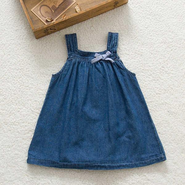 Детские Обувь для девочек ясельного возраста джинсы джинсовые платья с бантом Бретели для нижнего белья летний сарафан Vestido с Смешанный хлопок