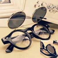 Retro Steampunk Goggles Flip Up Round Eyewear Outdoor Sunglasses Travel Glasses