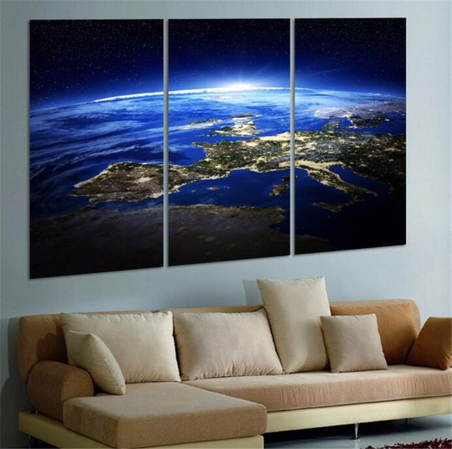 2017 Promotion Direct Selling Oil 3 Panel Sunrise Space Universe Picture  Wall Decor Canvas Art Home