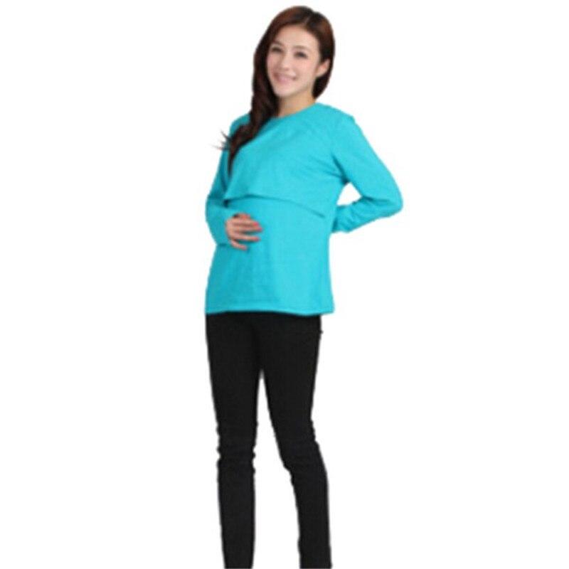 100% Bomuld Gravide Kvinder Toppe Moderskabstøj Nursing Langærmet O - Graviditet og moderskab - Foto 4