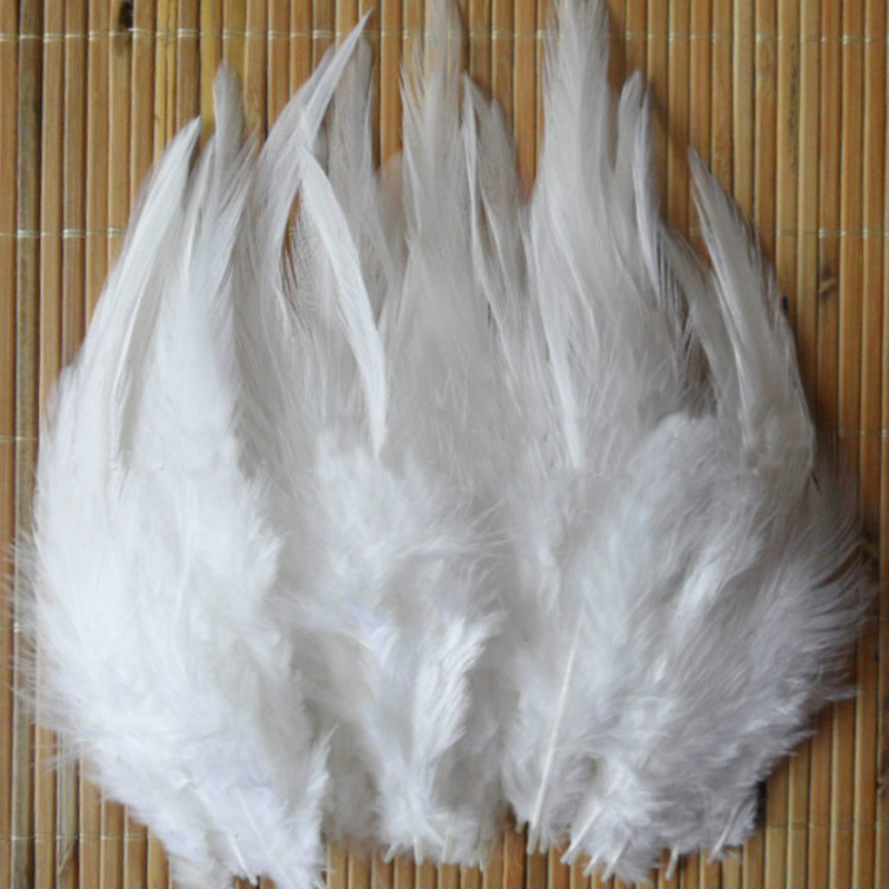 50Pcs 4 6Inch 10 15Cm White Chicken Plumes Cock Marabou -3606