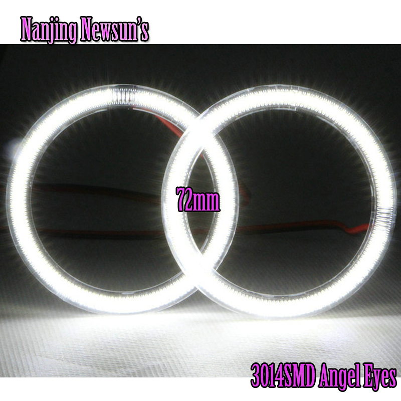 2x Angel Eyes 72mm 3014 69SMD Ring Led Car Led Light White/Blue/Green/Red Daytime Running Lights DRL Headlight With Lampshades angel eyes super led light ring for car headlights motorcycle 50mm 5w x 2 one pair white amber red green blue