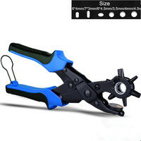 260mm 6 Sized Heavy Duty Leather Hole Punch Hand Pliers Belt Holes Punches Pliers Tool