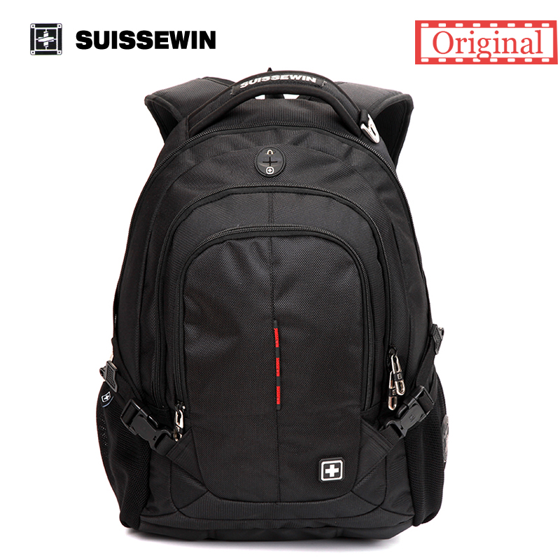 ФОТО Suissewin Brand Fashion School Backpack Swissgear Waterproof 15.6 Laptop Backpack Quality Casual Men Daypack SN9333 Male Mochila