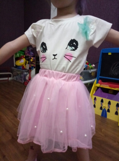 Костюм юбка+футболка для девочки за 460 руб. на Алиэкспресс