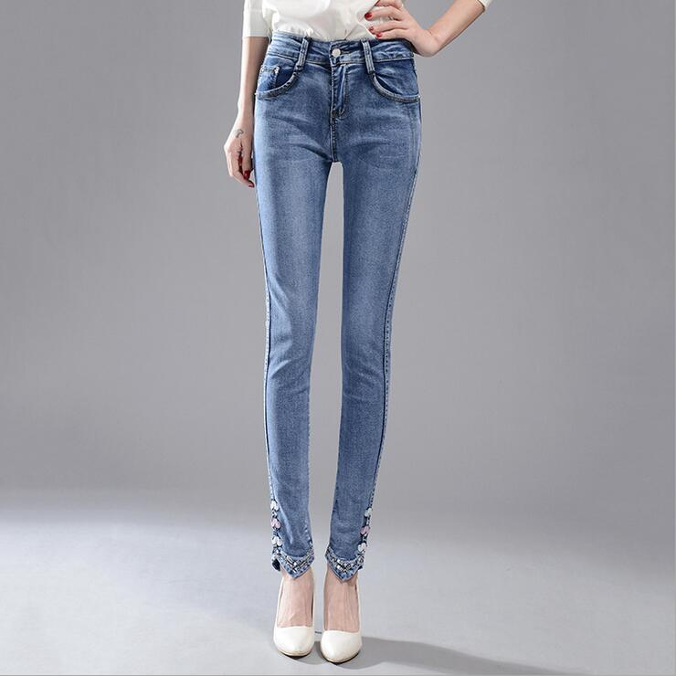 #3232 2016 Spring Slim Denim jeans womens Pantalones mujer Jean slim femme Fashion Jeans with embroidery feminino Skinny jeans