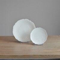 2 Pezzi Forma di Pizzo Bianco Fiore Incisione Zuppa di Ceramica Piatto per Sala Da Pranzo Moderna e Arredamento Breve Solido Utensili Da Cucina