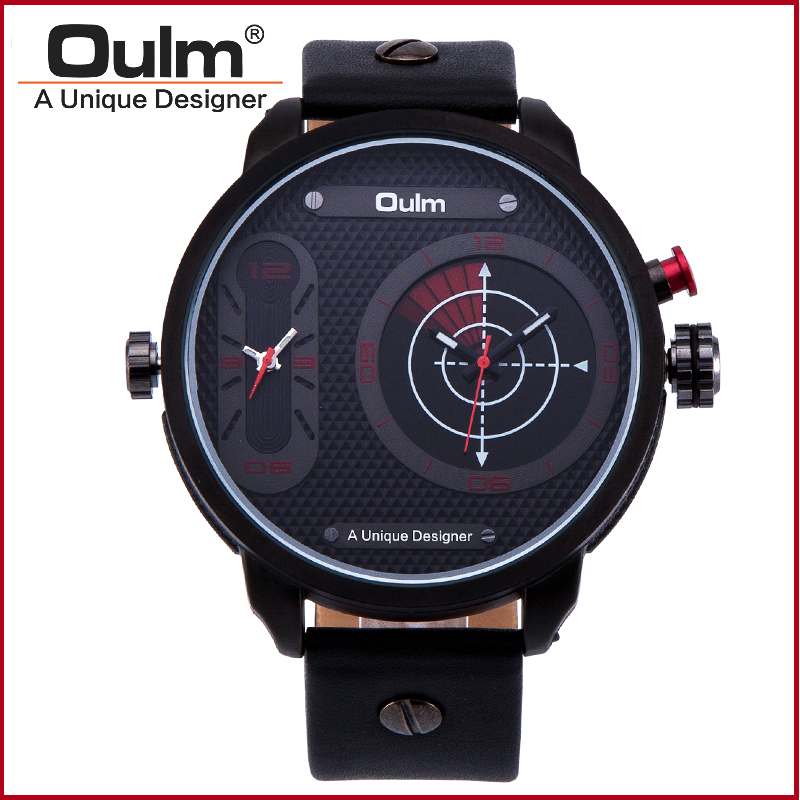 Quartz Sport Wrist Watch Oulm Brand Watch Dual Time Zone Alloy Case with Leather Belt For Young Men Watch Fashion Casual Style oulm hp9865 pc21s japan movement quartz watch with decorated compass dual time zone watch
