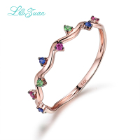 I Zuan 14K Rose Gold 0 084ct Colored Gemstone Prong Setting Trendy Triangle Ring For Women