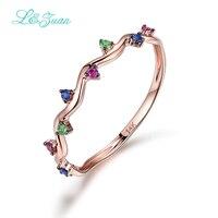 I & zuan 14 K Rose Goud Ruby/Sapphire/Emerald Wedding Ring Trendy Geometrische Bloem Ring Edelsteen Fine sieraden Voor Vrouwen