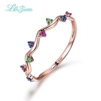I & zuan 14 Karat Roségold Rubin/Saphir/Smaragd Wedding Ring Trendy Geometrische Blume Edelstein Ring Feine schmuck Für Frauen