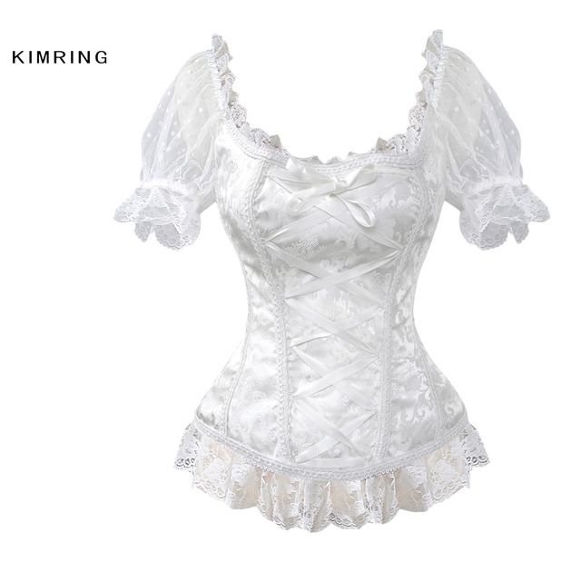 Kimring Sexy Bra Bride Corset Gothic Lace Halloween Overbust Corsets Waist Trainer Bustiers Body Shapewear Corselet for Women