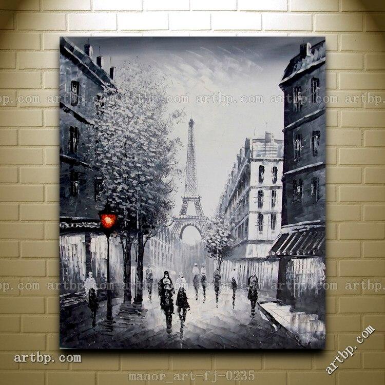Canvas Wall Modern Art Paris Eiffel Tower Painted Oil Painting ...