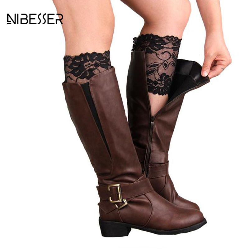 NIBESSER Brand Womens Stretch Lace Boot Cuffs Ladies Sexy Socks Knee Ankle Wamer Spring Trim Toppers Socks Leg Warmers