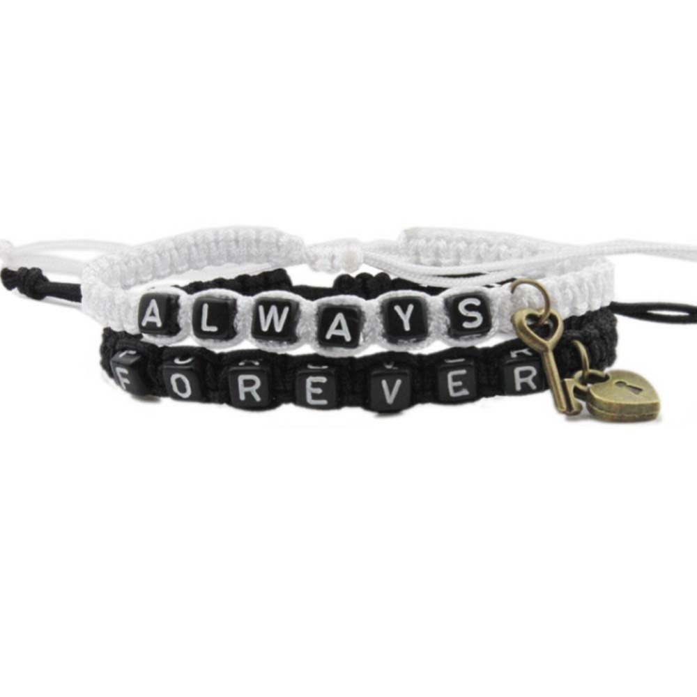 Always Forever Letter Strap Woven Bracelet With Key Love Lock Bracelets For Lovers Couples Boyfriend Girlfriend