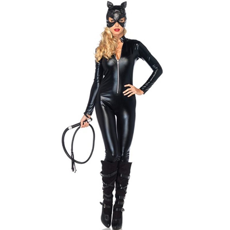 2016 Costumes Adult Women Deluxe Leather Rider Motorcycle Jacket Cat Lady Catwoman Costume Catsuit Jumpsuit With Hat