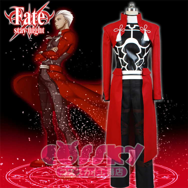 Anime Fate Archer cosplay costume Red uniform full set Jacket+leather top+pants+Dress+handwears free shipping
