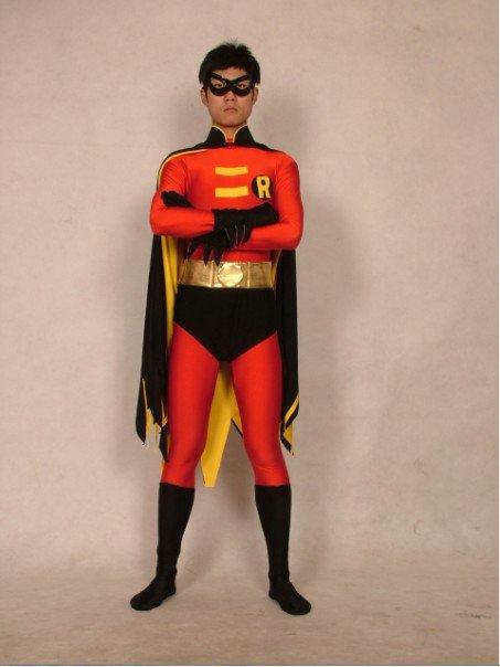 lacer dans le meilleur publier des informations sur € 41.27 10% de réduction|Costume de super héros lycra zentai rouge robin  avec cape body taille S XXL-in Costumes de TV & de film pour hommes from ...
