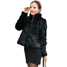 2016 New women fur coat Casual Short Design faux rabbit fur coat Lady Garment Plus Size Warm autumn Winter overcoat DX335