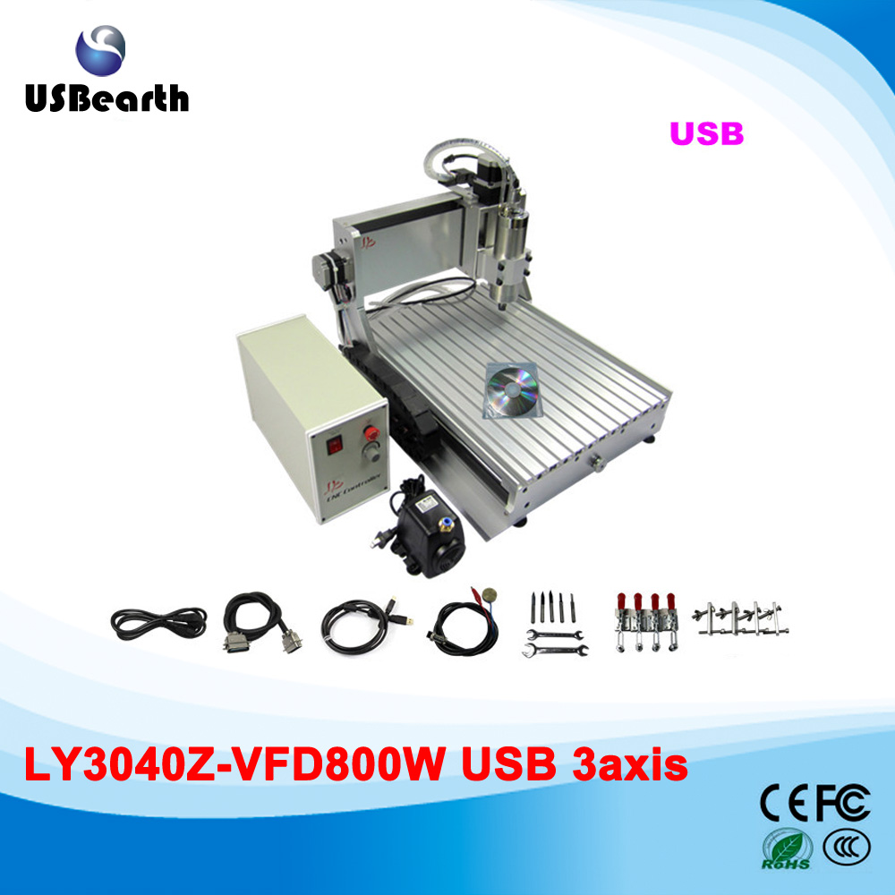 LY 3040Z-VFD800W USB 3axis CNC router assembled drilling machine with USB port to Russia free tax no tax to russia factory new 4 axis cnc cutting machine with limit switch usb port 800w cnc router 3040 z usb