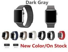 Из натуральной кожи контура ремешок для часов для apple , часы кожаный контура полоса с магнитным замком для iwatch milanese петля
